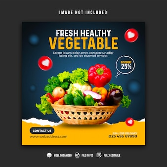 Szablon projektu banera mediów społecznościowych warzyw i artykułów spożywczych
