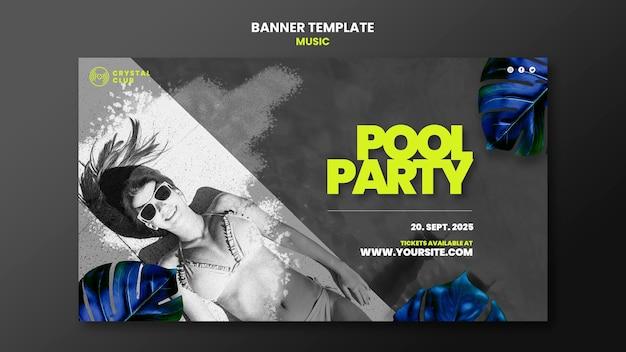 Szablon projektu banera muzycznego przy basenie