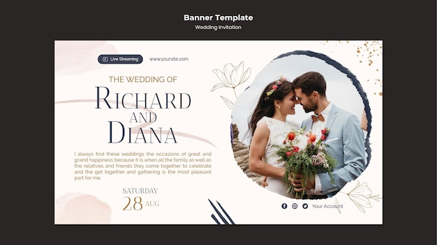 Szablon projektu banera zaproszenia na ślub