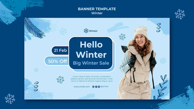Szablon projektu banera zimowej sprzedaży