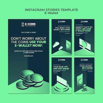 Szablon projektu historii e-portfela na instagramie