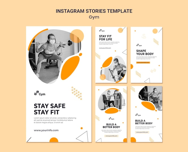 Szablon projektu historii siłowni na instagramie