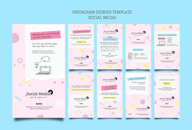 Szablon projektu insta story agencji marketingowej w mediach społecznościowych