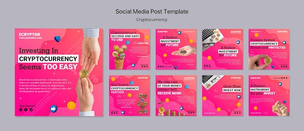 Szablon projektu kryptowaluty postu w mediach społecznościowych