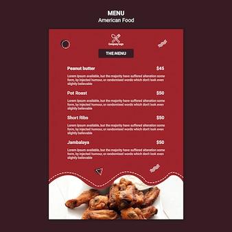 Szablon projektu menu amerykańskie jedzenie