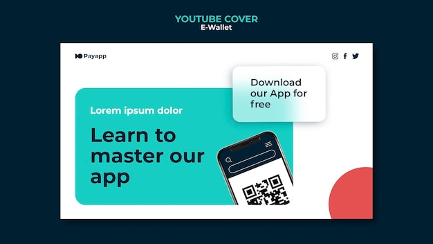 Szablon projektu okładki e-portfela na youtube