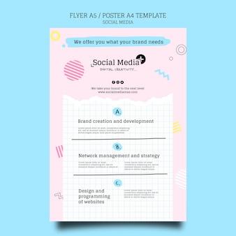 Szablon projektu plakatu agencji marketingowej w mediach społecznościowych