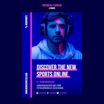 Szablon Projektu Plakatu E-sportowego Premium Psd