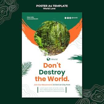 Szablon projektu plakatu miłości świata