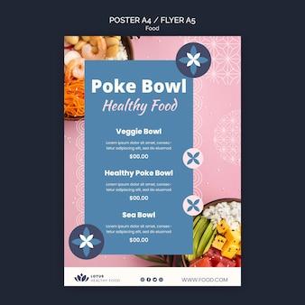 Szablon projektu plakatu posiłku poke bowl