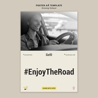 Szablon projektu plakatu szkoły jazdy