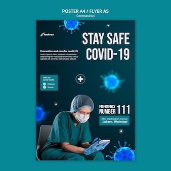 Szablon projektu plakatu z koronawirusem