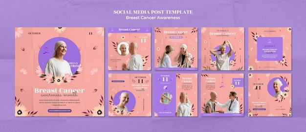 Szablon projektu postu na temat świadomości raka piersi w mediach społecznościowych