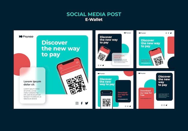 Szablon projektu postu w e-portfelu w mediach społecznościowych