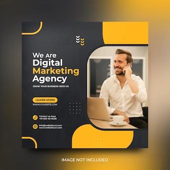 Szablon projektu postu w mediach społecznościowych dla agencji marketingu cyfrowego