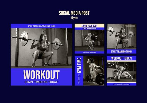 Szablon projektu postu w mediach społecznościowych na siłowni