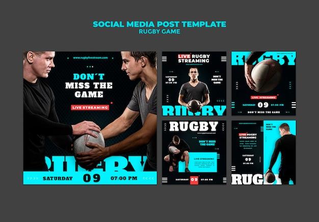 Szablon projektu postu w mediach społecznościowych z grą rugby