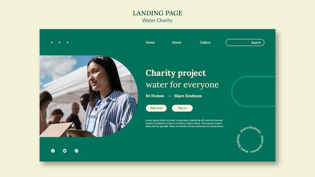 Szablon projektu strony docelowej charytatywnej wody