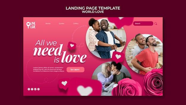 Szablon projektu strony docelowej miłości na świecie