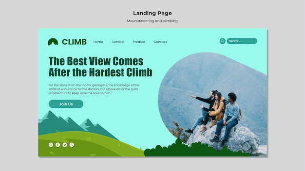 Szablon projektu strony docelowej wspinaczki górskiej i wspinaczki