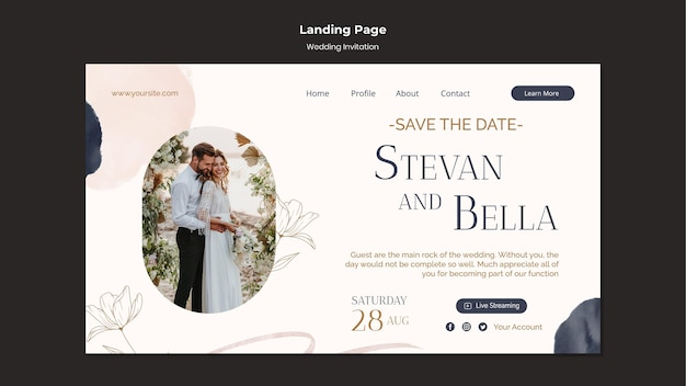 Szablon projektu strony docelowej zaproszenia na ślub