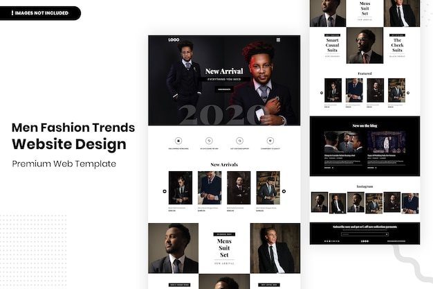 Szablon projektu strony internetowej trendów mody męskiej