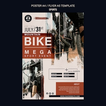 Szablon projektu ulotki sportowej roweru