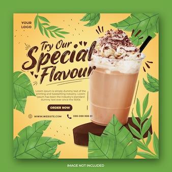 Szablon promocji menu napojów w mediach społecznościowych instagram post banner