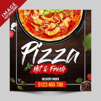 Szablon promocji pizza media społecznościowe