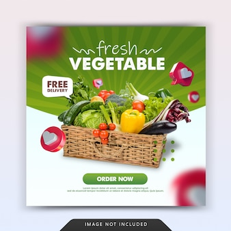 Szablon promocji postu w mediach społecznościowych z dostawą świeżych warzyw spożywczych