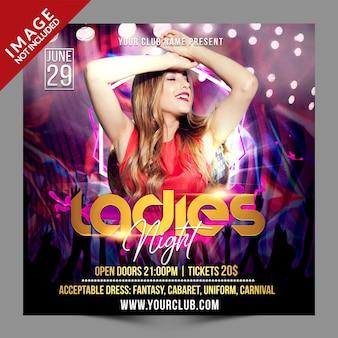Szablon promocji psd ladies night social media