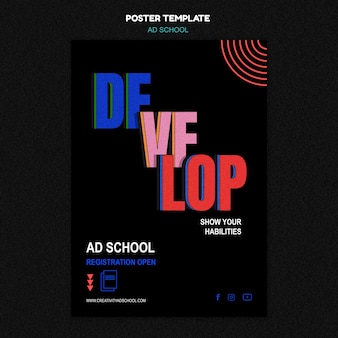 Szablon promocji szkoły plakat reklamowy