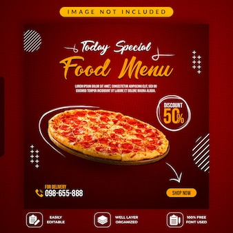 Szablon promocyjny mediów społecznościowych sprzedaży żywności