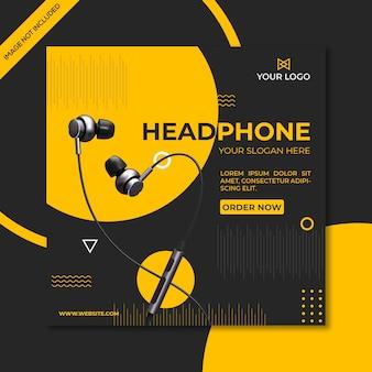 Szablon promocyjny placu mediów społecznościowych produktu słuchawki