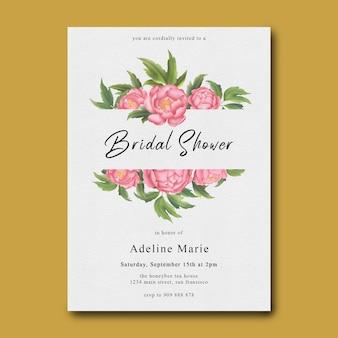 Szablon prysznic dla nowożeńców z ramą kwiat akwarela piwonii
