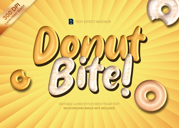 Szablon psd efekt tekstowy logo pączka i miękkiego ciasta.