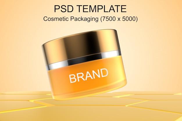 Szablon psd kosmetyków organicznych o strukturze plastra miodu