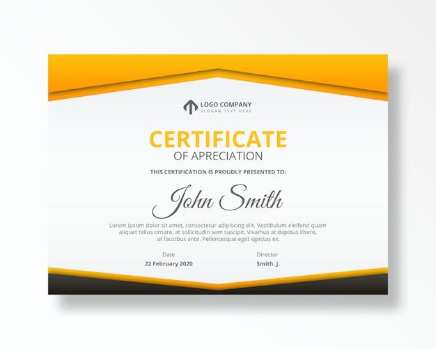 Szablon psd osiągnięcia nowoczesnego certyfikatu