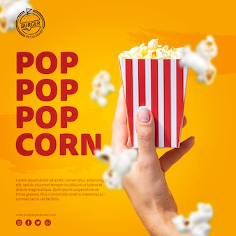 Szablon ręki trzymającej torbę popcorn