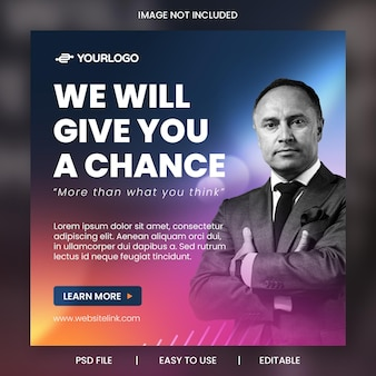 Szablon reklam w mediach społecznościowych promocji firmy