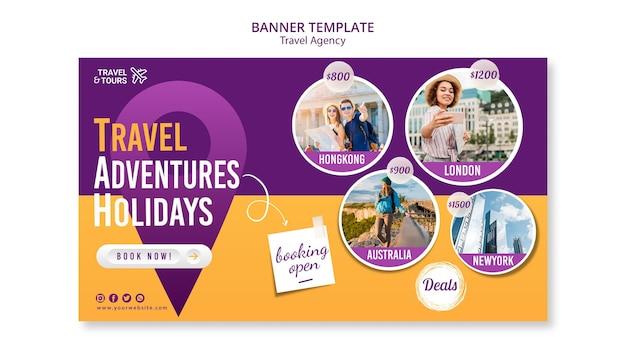 Szablon reklamy biura podróży banner