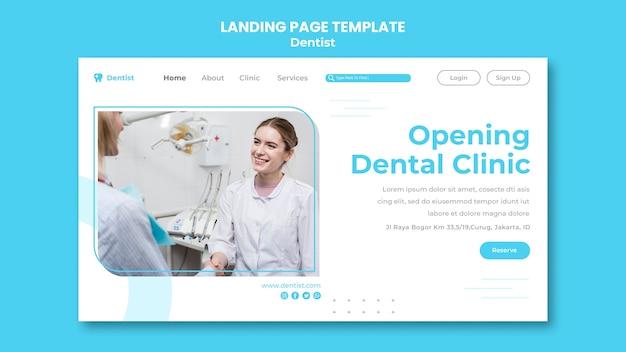 Szablon reklamy dentysty na stronie docelowej