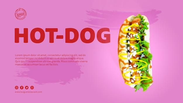 Szablon reklamy hot doga ze zdjęciem