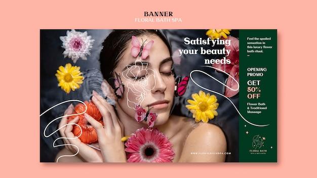 Szablon reklamy kwiatowy spa baner