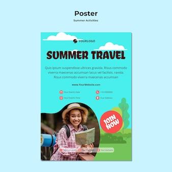Szablon reklamy letniej podróży plakat