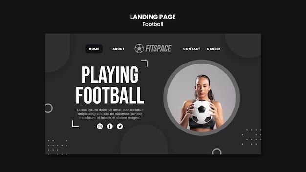 Szablon reklamy piłki nożnej na stronie docelowej