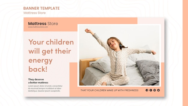 Szablon reklamy sklepu z materacem banerowym