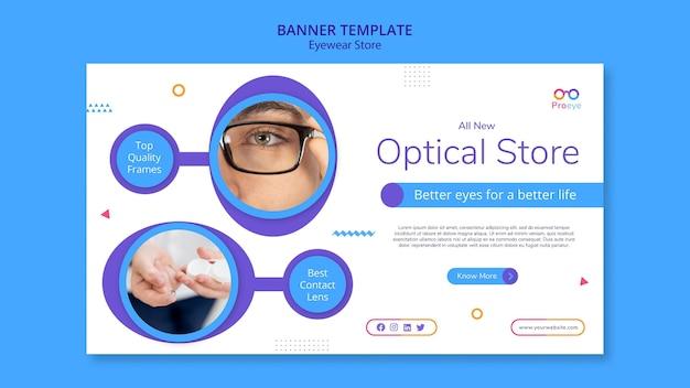 Szablon reklamy sklepu z okularami banerowymi