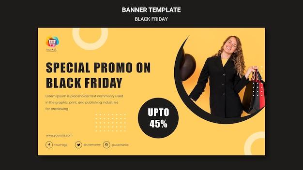Szablon reklamy transparent czarny piątek