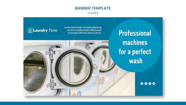 Szablon reklamy usługi pralni banner